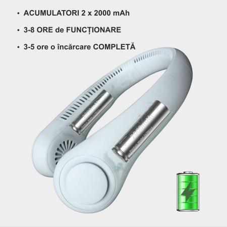 Mini ventilator portabil pentru gat, 3 trepte de viteza, USB, pana la 8 ore de functionare, acumulatori 4000 mA, alb [3]