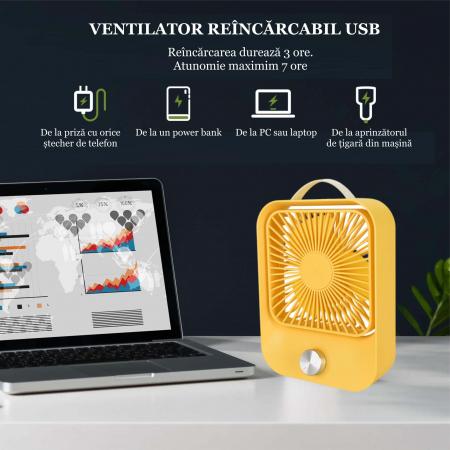Ventilator portabil pentru birou, 2.6 W, acumulator 2400 mAh, incarcare 3 ore, autonomie pana la 7 ore, reincarcabil USB, galben [2]