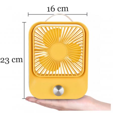 Ventilator portabil pentru birou, 2.6 W, acumulator 2400 mAh, incarcare 3 ore, autonomie pana la 7 ore, reincarcabil USB, galben [1]