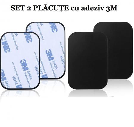 Set 2 placute metalice pentru suport magnetic de telefon, adeziv 3M, dimensiunea 4.5 x 6.5 cm, negru [2]