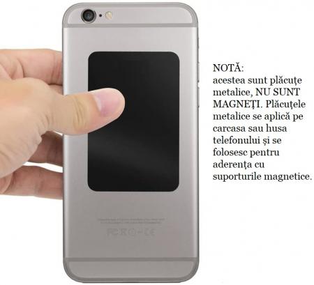 Set 2 placute metalice pentru suport magnetic de telefon, adeziv 3M, dimensiunea 4.5 x 6.5 cm, negru [4]