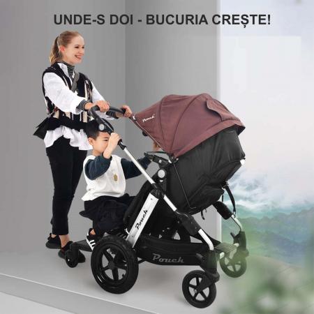 Adaptor de carucior pentru al doilea copil, remorca carucior, platforma buggy board cu scaun demontabil, 2 roti, capacitate 25 kg, universal, negru [4]