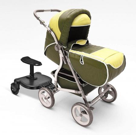 Adaptor de carucior pentru al doilea copil, remorca carucior, platforma buggy board cu scaun demontabil, 2 roti, capacitate 25 kg, universal, negru [1]