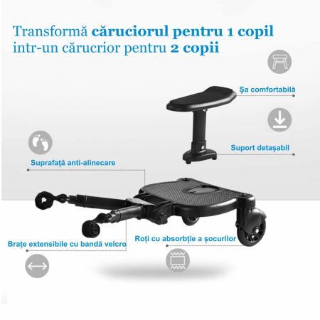 Adaptor de carucior pentru al doilea copil, remorca carucior, platforma buggy board cu scaun demontabil, 2 roti, capacitate 25 kg, universal, negru [5]