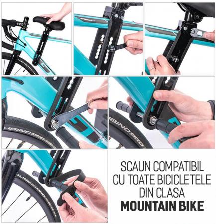 Scaun copil pentru bicicleta cu montaj pe cadru, 2-7 ani, capacitate 32 kg, cu suport pentru picioare, cu ghidon auxiliar pentru copil, negru [3]