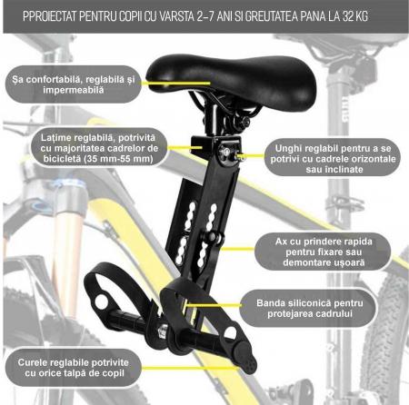 Scaun copil pentru bicicleta cu montaj pe cadru, 2-7 ani, capacitate 32 kg, cu suport pentru picioare, cu ghidon auxiliar pentru copil, negru [4]