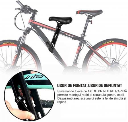 Scaun copil pentru bicicleta cu montaj pe cadru, 2-7 ani, capacitate 32 kg, cu suport pentru picioare, cu ghidon auxiliar pentru copil, negru [5]