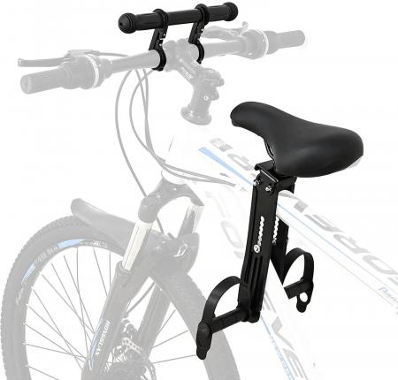 Scaun copil pentru bicicleta cu montaj pe cadru, 2-7 ani, capacitate 32 kg, cu suport pentru picioare, cu ghidon auxiliar pentru copil, negru [0]