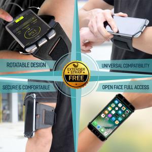 Set 2 unitati Husa Banderola pentru brat / mana cu 360° rotire si cu acces usor la ecran, pentru alergat, sala, bicicleta, drumetii, Negru [1]