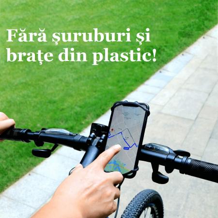 Suport telefon universal pentru bicicleta, din silicon, rotativ 360⁰, montaj pe ghidon, compatibil bicicleta, carut, trotineta, scuter, negru [7]