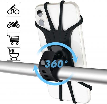 Suport telefon universal pentru bicicleta, din silicon, rotativ 360⁰, montaj pe ghidon, compatibil bicicleta, carut, trotineta, scuter, negru [0]