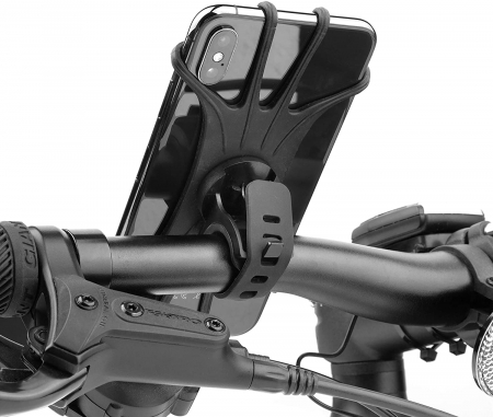 Suport telefon universal pentru bicicleta, din silicon, rotativ 360⁰, montaj pe ghidon, compatibil bicicleta, carut, trotineta, scuter, negru [9]