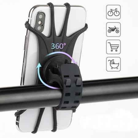 Suport telefon universal pentru bicicleta, din silicon, rotativ 360⁰, montaj pe ghidon, compatibil bicicleta, carut, trotineta, scuter, negru [1]