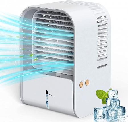Ventilator cu umidificare portabil Ideas4Comfort, reincarcabil USB, 3 viteze, 2 moduri pulverizare, rezervor apa 330 ml, 6.5 W, autonomie 6 ore, alb [0]