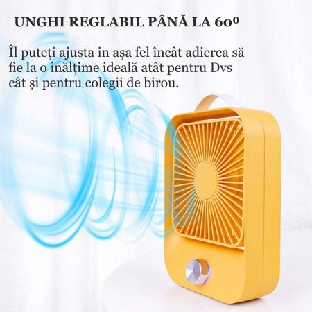 Ventilator portabil pentru birou, 2.6 W, acumulator 2400 mAh, incarcare 3 ore, autonomie pana la 7 ore, reincarcabil USB, galben [5]
