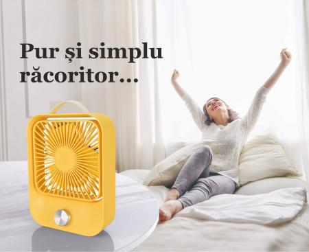 Ventilator portabil pentru birou, 2.6 W, acumulator 2400 mAh, incarcare 3 ore, autonomie pana la 7 ore, reincarcabil USB, galben [8]