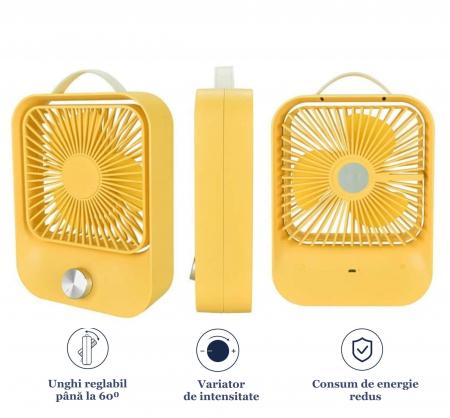 Ventilator portabil pentru birou, 2.6 W, acumulator 2400 mAh, incarcare 3 ore, autonomie pana la 7 ore, reincarcabil USB, galben [3]
