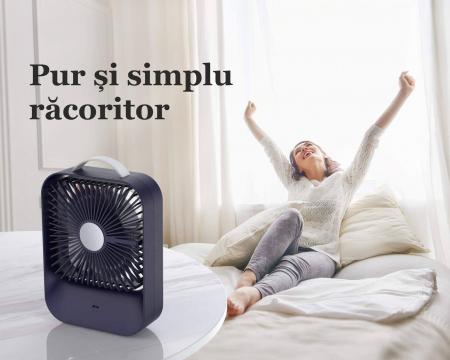 Ventilator portabil pentru birou, 2.6 W, acumulator 2400 mAh, incarcare 3 ore, autonomie pana la 7 ore, reincarcabil USB, albastru [13]