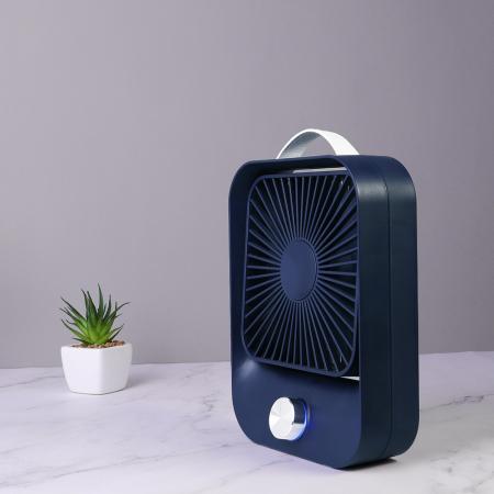 Ventilator portabil pentru birou, 2.6 W, acumulator 2400 mAh, incarcare 3 ore, autonomie pana la 7 ore, reincarcabil USB, albastru [4]