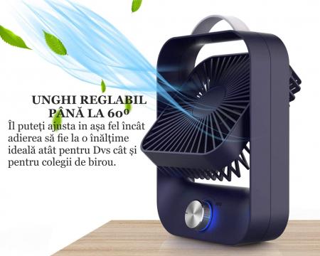 Ventilator portabil pentru birou, 2.6 W, acumulator 2400 mAh, incarcare 3 ore, autonomie pana la 7 ore, reincarcabil USB, albastru [2]