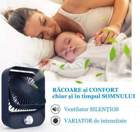 Ventilator portabil pentru birou, 2.6 W, acumulator 2400 mAh, incarcare 3 ore, autonomie pana la 7 ore, reincarcabil USB, albastru [9]