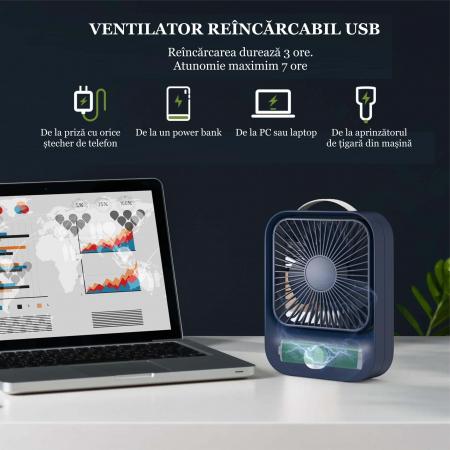 Ventilator portabil pentru birou, 2.6 W, acumulator 2400 mAh, incarcare 3 ore, autonomie pana la 7 ore, reincarcabil USB, albastru [3]