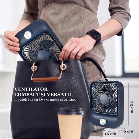 Ventilator portabil pentru birou, 2.6 W, acumulator 2400 mAh, incarcare 3 ore, autonomie pana la 7 ore, reincarcabil USB, albastru [12]