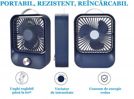 Ventilator portabil pentru birou, 2.6 W, acumulator 2400 mAh, incarcare 3 ore, autonomie pana la 7 ore, reincarcabil USB, albastru [7]