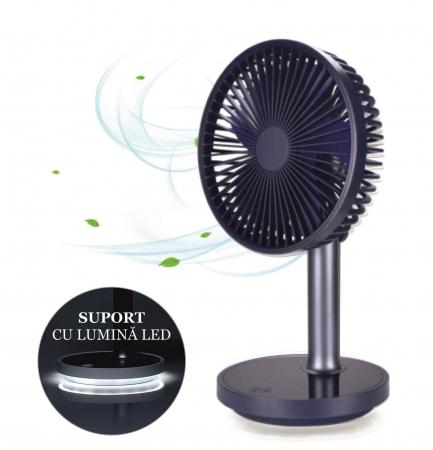 Ventilator portabil pentru birou, 5 W, acumulator 2000 mAh, brat extensibil, reincarcabil USB, albastru [1]