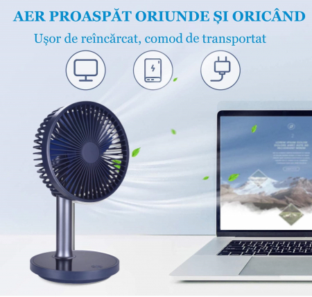 Ventilator portabil pentru birou, 5 W, acumulator 2000 mAh, brat extensibil, reincarcabil USB, albastru [5]