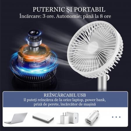 Ventilator portabil pentru birou, 5 W, acumulator 2000 mAh, brat extensibil, reincarcabil USB, alb [4]