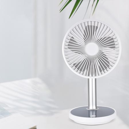 Ventilator portabil pentru birou, 5 W, acumulator 2000 mAh, brat extensibil, reincarcabil USB, alb [1]