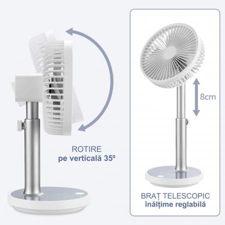 Ventilator portabil pentru birou, 5 W, acumulator 2000 mAh, brat extensibil, reincarcabil USB, alb [8]