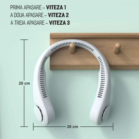 Mini ventilator portabil pentru gat, 3 trepte de viteza, USB, pana la 8 ore de functionare, acumulatori 4000 mA, alb [1]