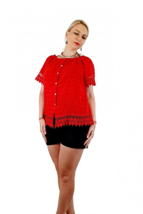 Bluza Dama din bumbac - rosu [0]