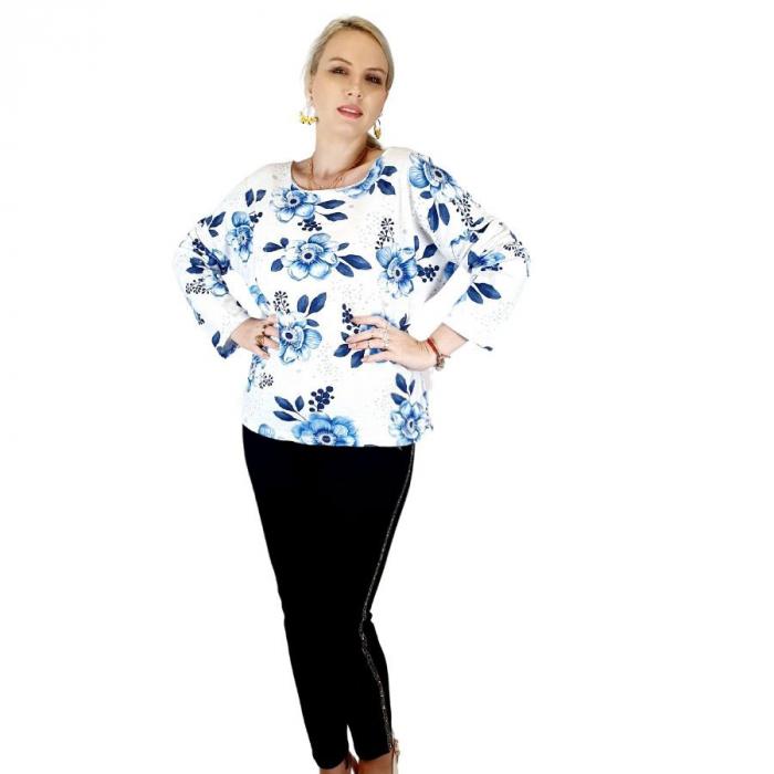 Bluza de dama cu imprimeu, maneci lungi (7) 0
