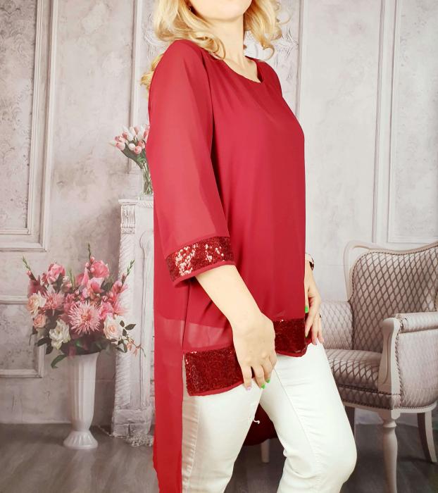 Bluza lunga rosu cu paiete grena [1]