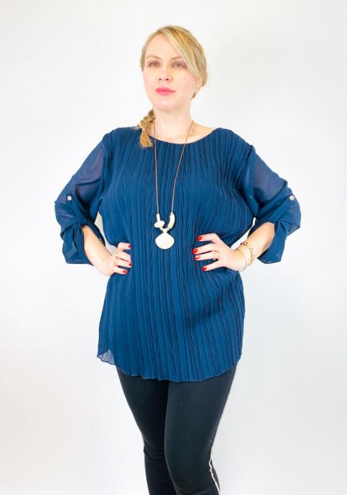 Bluza plisata Albastra Camelia [0]