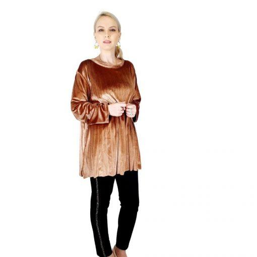 Bluza plisata de dama din catifea aurie [2]