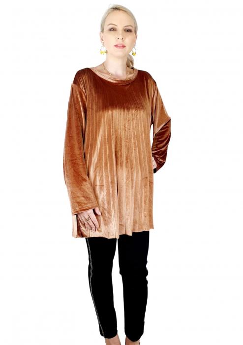Bluza plisata de dama din catifea aurie [1]