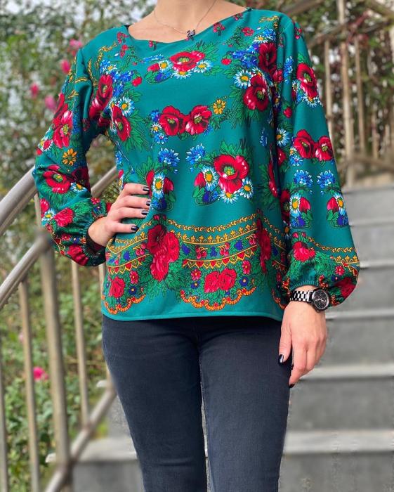 Bluza stilizata cu motive florale Sanziana 14 [0]