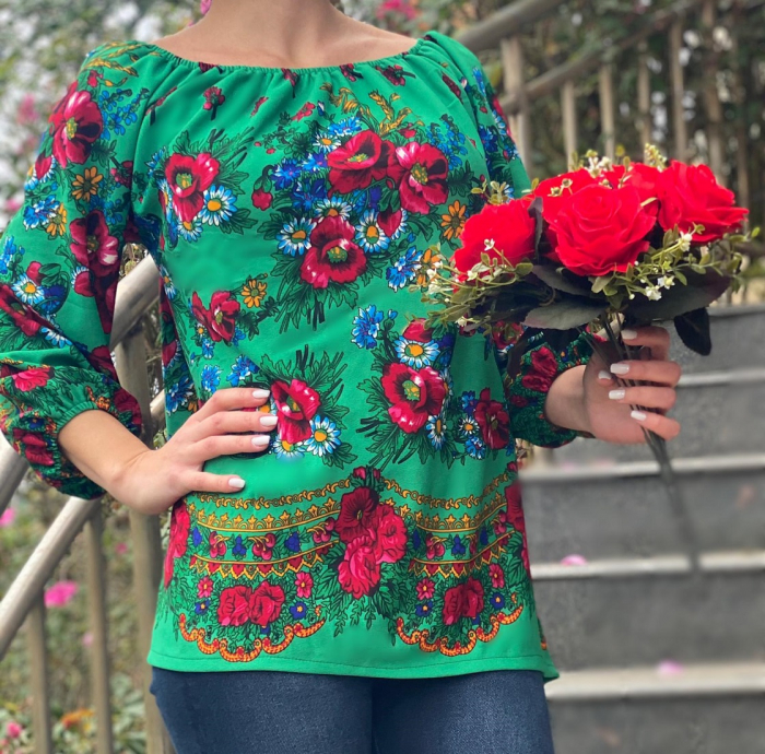 Bluza stilizata cu motive florale Sanziana 18 [0]