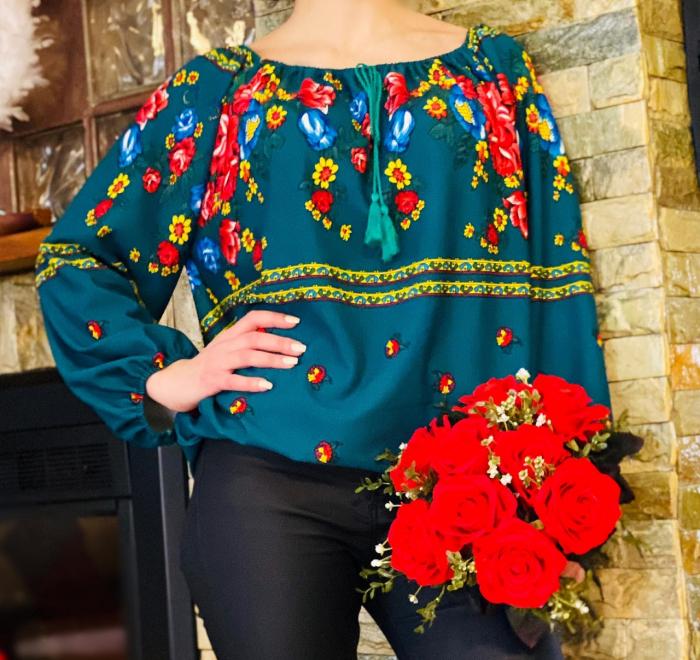 Bluza stilizata cu motive florale Sanziana 20 0