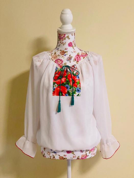 Bluza stilizata cu motive traditionale cu maci [0]