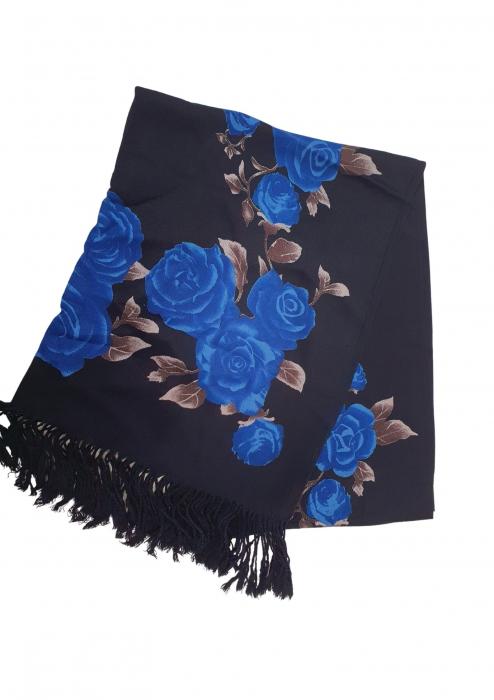 Esarfa etno mare negru Trandafir 3 [2]