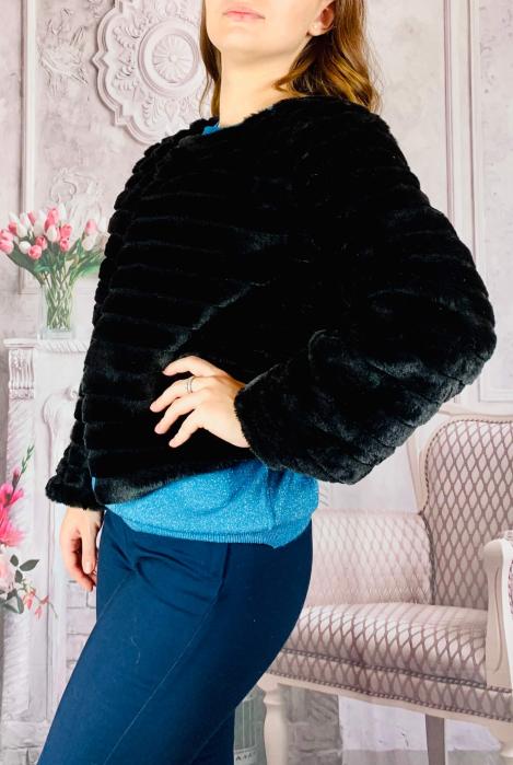 Jacheta cu talie scurta din blana sintetica - negru [1]