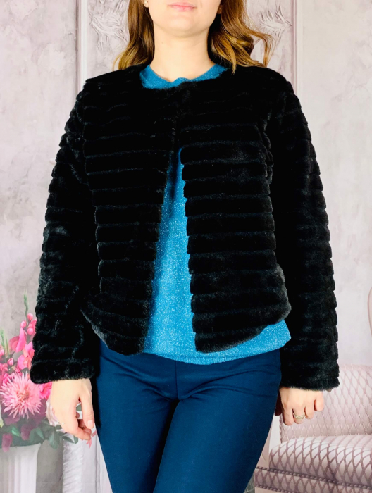 Jacheta cu talie scurta din blana sintetica - negru [0]