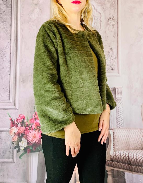 Jacheta cu talie scurta din blana sintetica - verde [1]