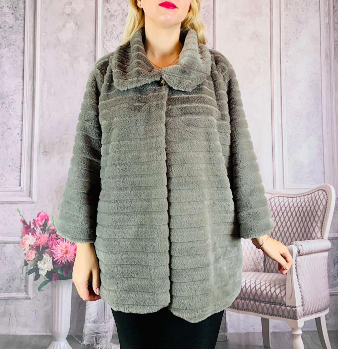 Jacheta din blana sintetica - verde olive [0]