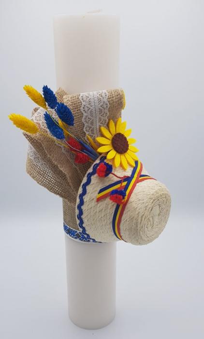 Lumanare Botez Floarea Soarelui Lucrata Manual II [0]